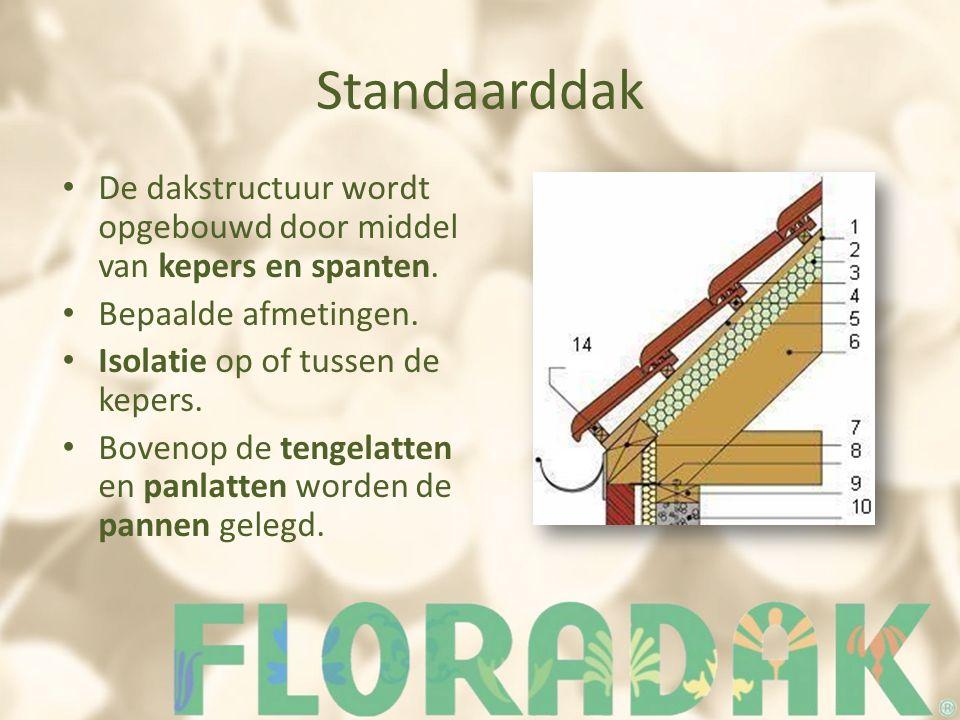 Standaarddak De dakstructuur wordt opgebouwd door middel van kepers en spanten. Bepaalde afmetingen.