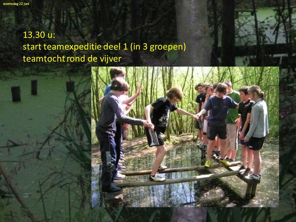 woensdag 22 juni 13.30 u: start teamexpeditie deel 1 (in 3 groepen) teamtocht rond de vijver