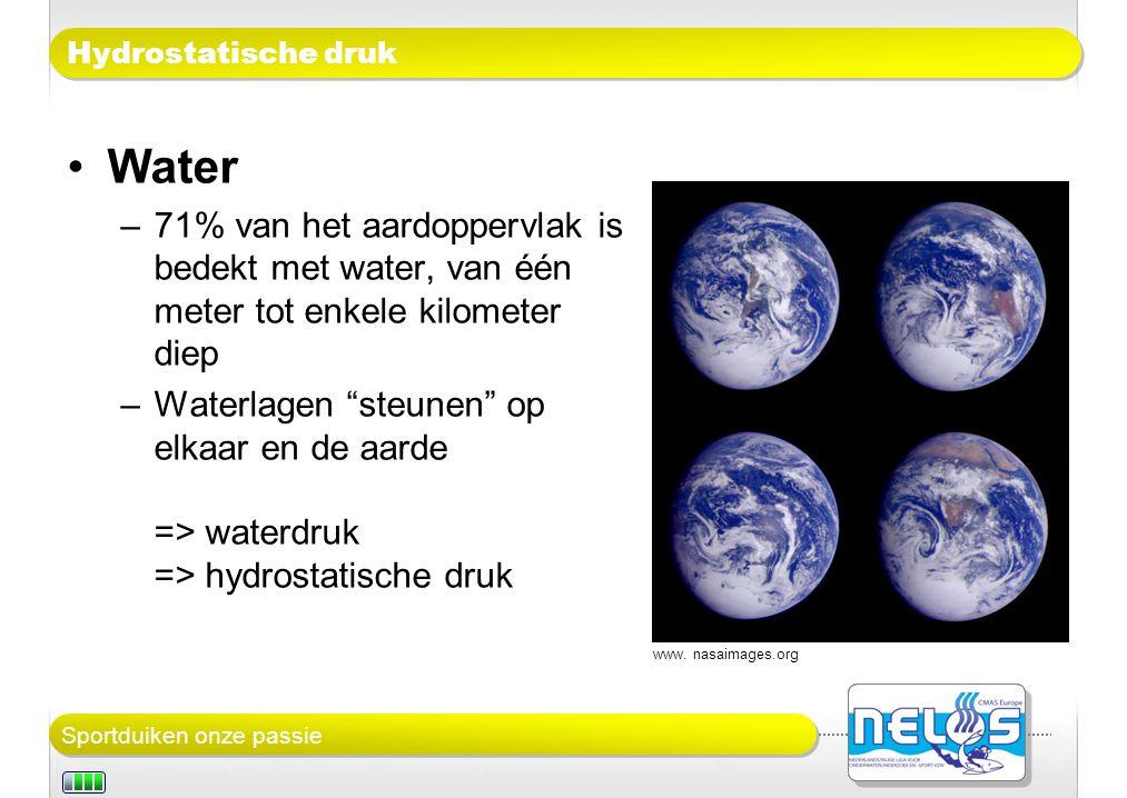 Hydrostatische druk Water. 71% van het aardoppervlak is bedekt met water, van één meter tot enkele kilometer diep.