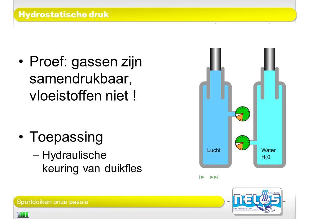 Proef: gassen zijn samendrukbaar, vloeistoffen niet !