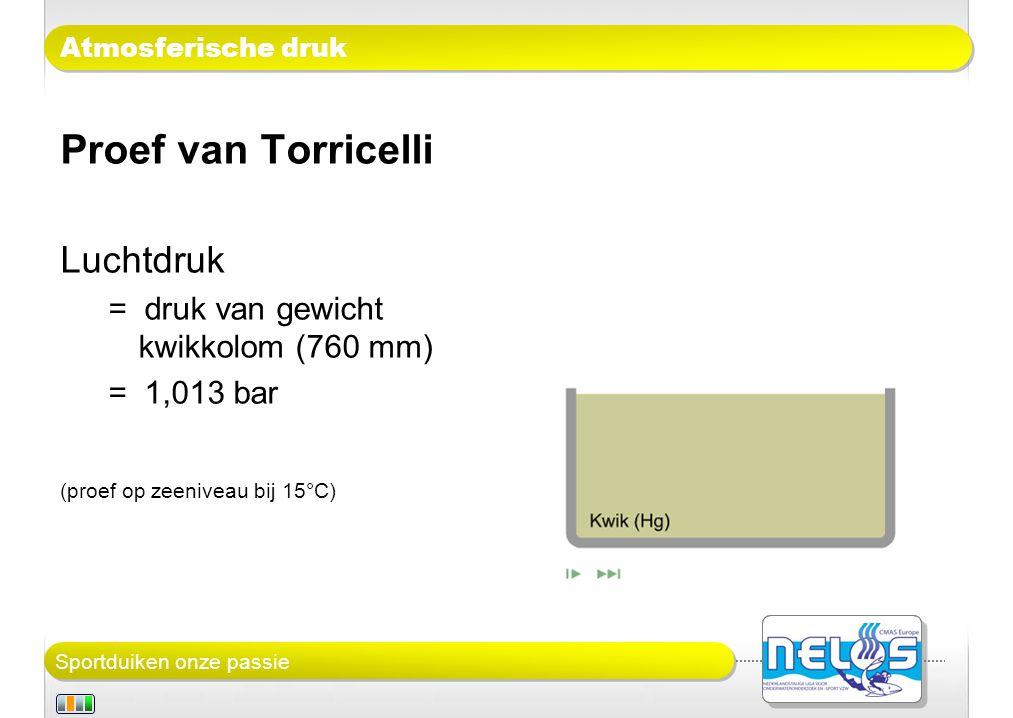 Proef van Torricelli Luchtdruk = druk van gewicht kwikkolom (760 mm)