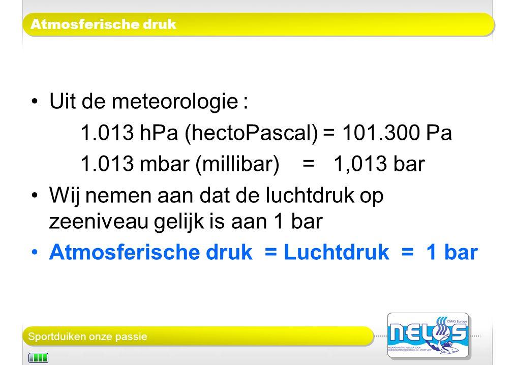 Wij nemen aan dat de luchtdruk op zeeniveau gelijk is aan 1 bar