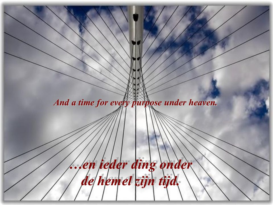 And a time for every purpose under heaven.