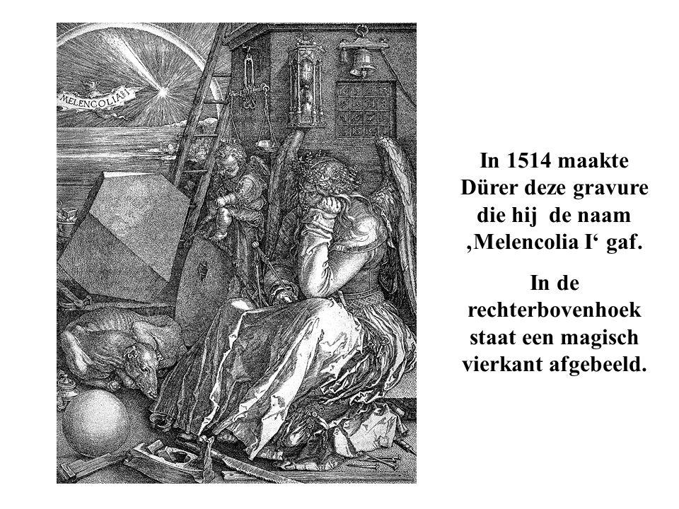 In 1514 maakte Dürer deze gravure die hij de naam 'Melencolia I' gaf.