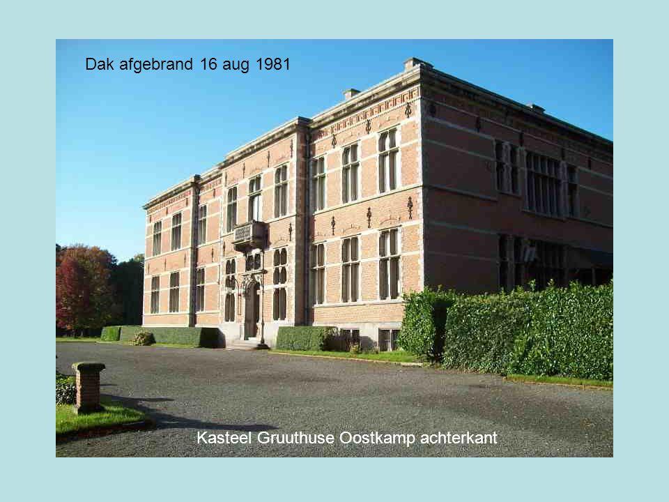 Dak afgebrand 16 aug 1981 Kasteel Gruuthuse Oostkamp achterkant