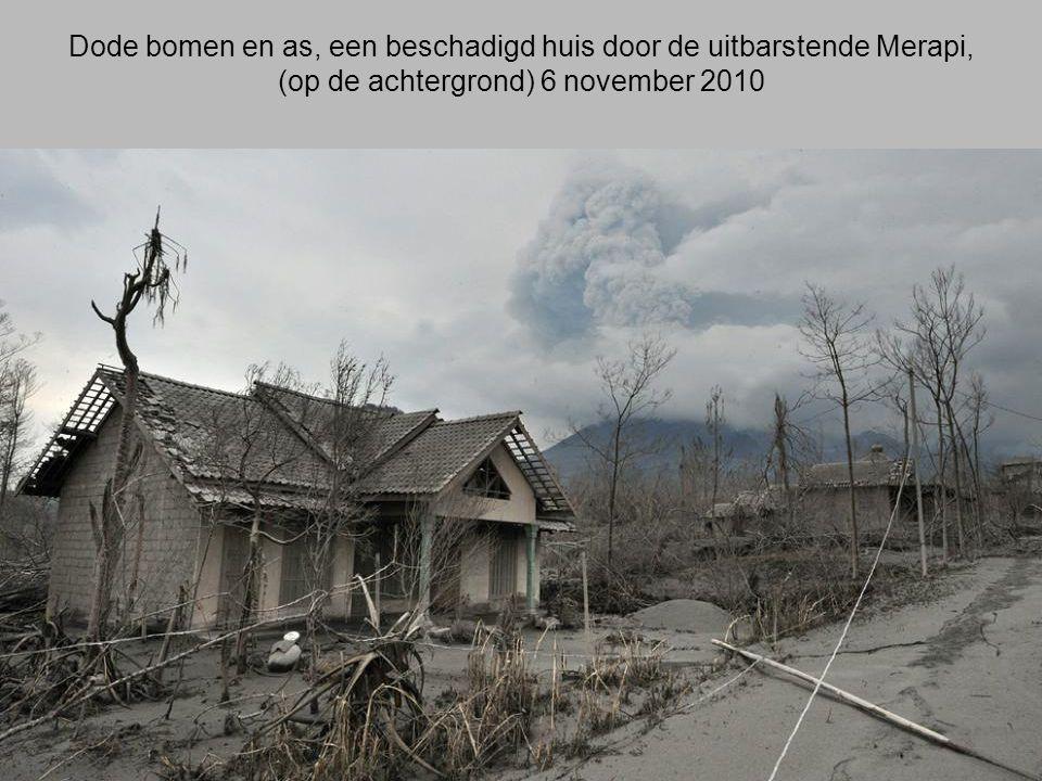 Dode bomen en as, een beschadigd huis door de uitbarstende Merapi,