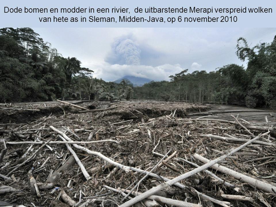 Dode bomen en modder in een rivier, de uitbarstende Merapi verspreid wolken van hete as in Sleman, Midden-Java, op 6 november 2010