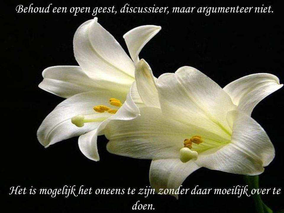 Behoud een open geest, discussieer, maar argumenteer niet.