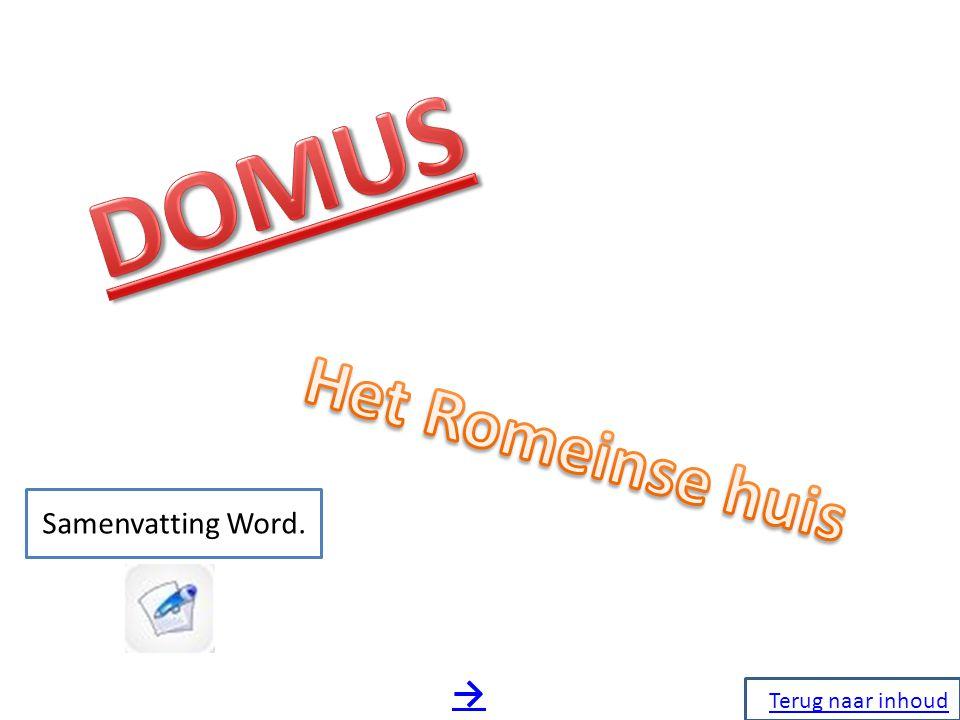 DOMUS Het Romeinse huis Samenvatting Word. → Terug naar inhoud