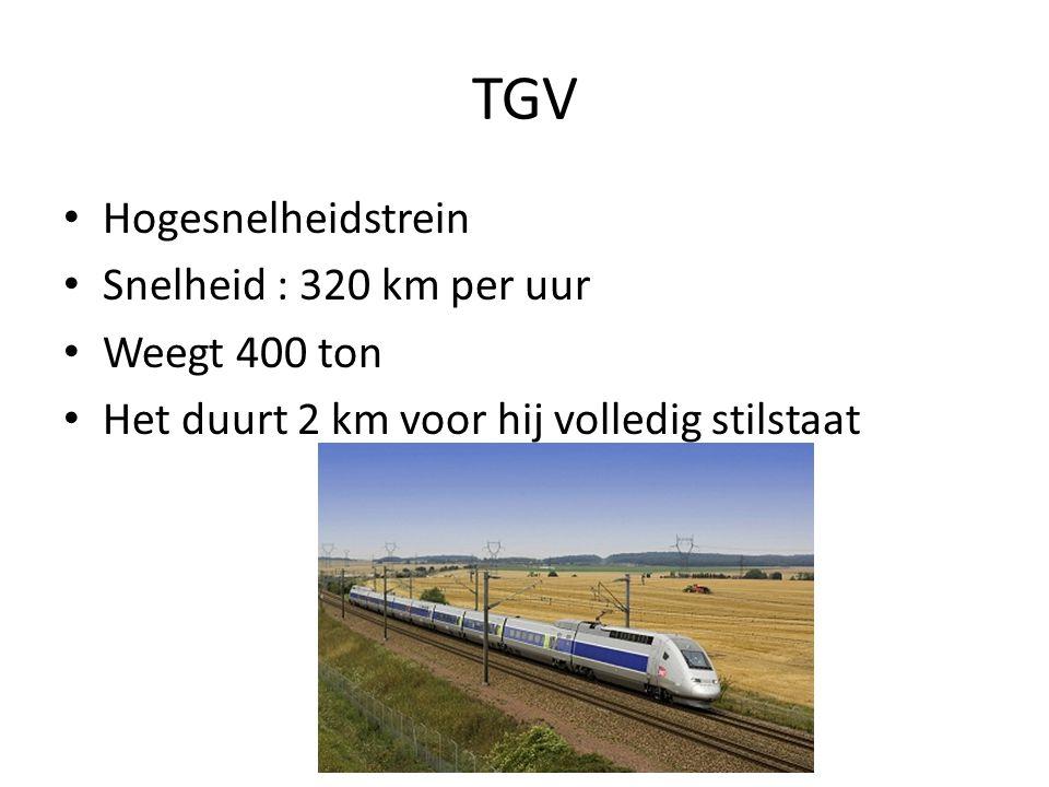 TGV Hogesnelheidstrein Snelheid : 320 km per uur Weegt 400 ton