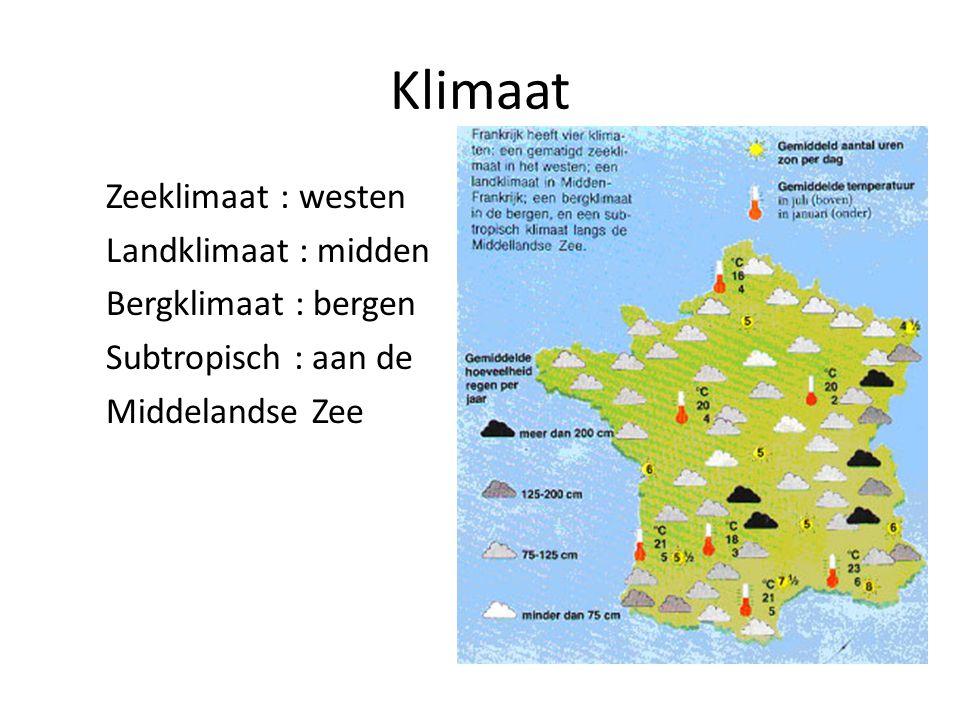 Klimaat Zeeklimaat : westen Landklimaat : midden Bergklimaat : bergen Subtropisch : aan de Middelandse Zee
