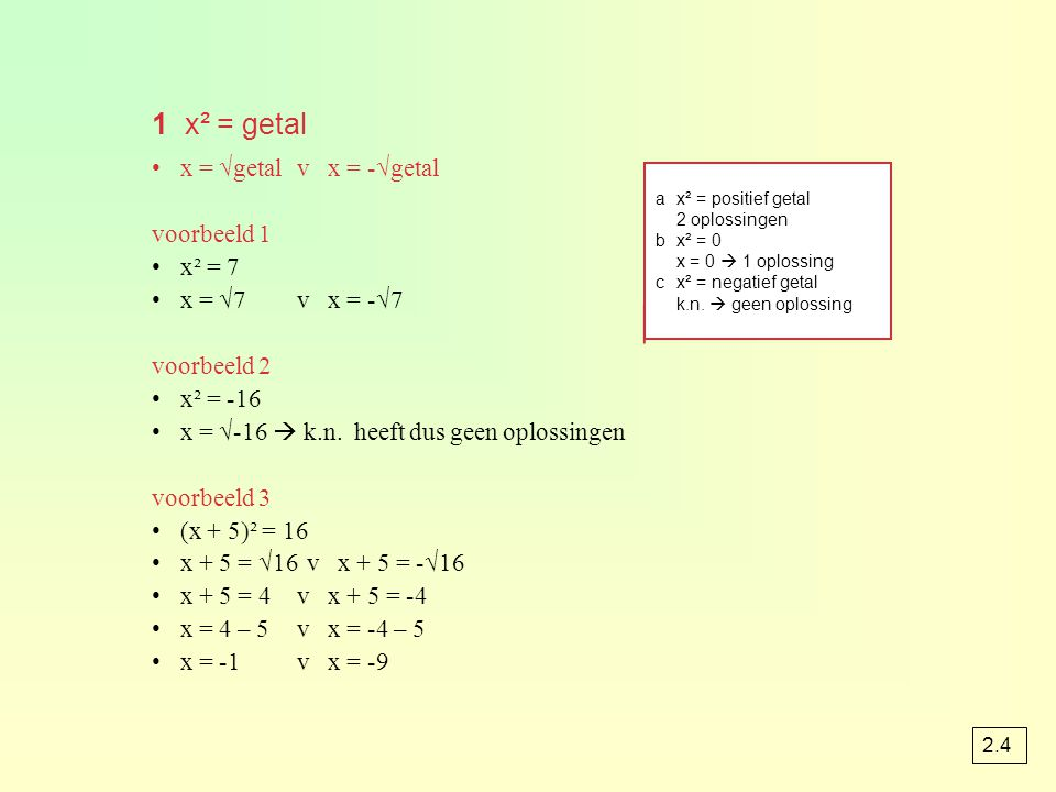 1 x² = getal x = √getal v x = -√getal voorbeeld 1 x² = 7