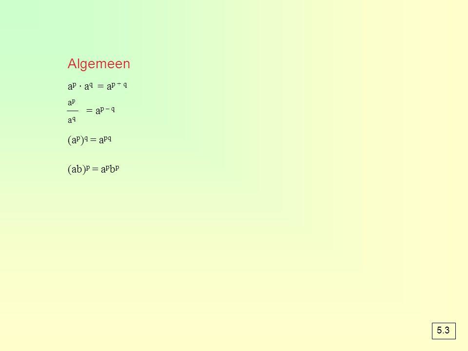 Algemeen ap · aq = ap + q = ap – q (ap)q = apq (ab)p = apbp ap aq 5.3