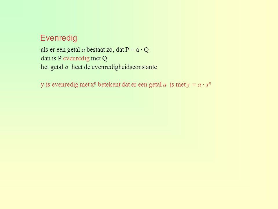 Evenredig als er een getal a bestaat zo, dat P = a · Q