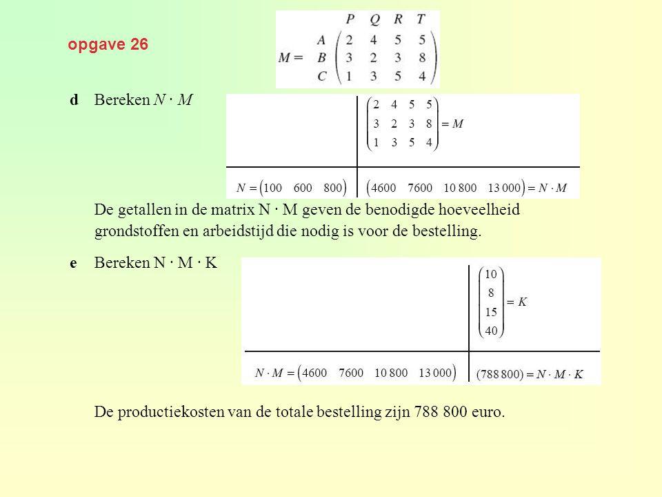 d Bereken N · M De getallen in de matrix N · M geven de benodigde hoeveelheid. grondstoffen en arbeidstijd die nodig is voor de bestelling.