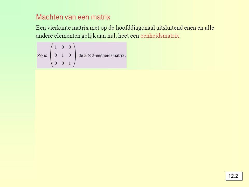 Machten van een matrix Een vierkante matrix met op de hoofddiagonaal uitsluitend enen en alle.