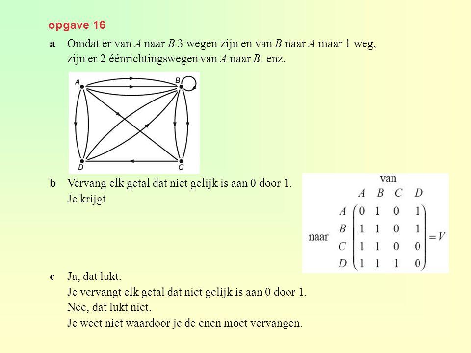 opgave 16 a Omdat er van A naar B 3 wegen zijn en van B naar A maar 1 weg, zijn er 2 éénrichtingswegen van A naar B. enz.