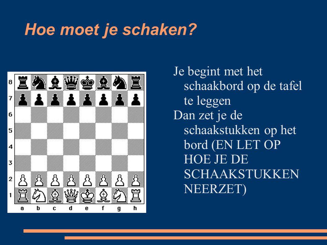 Hoe moet je schaken Je begint met het schaakbord op de tafel te leggen.
