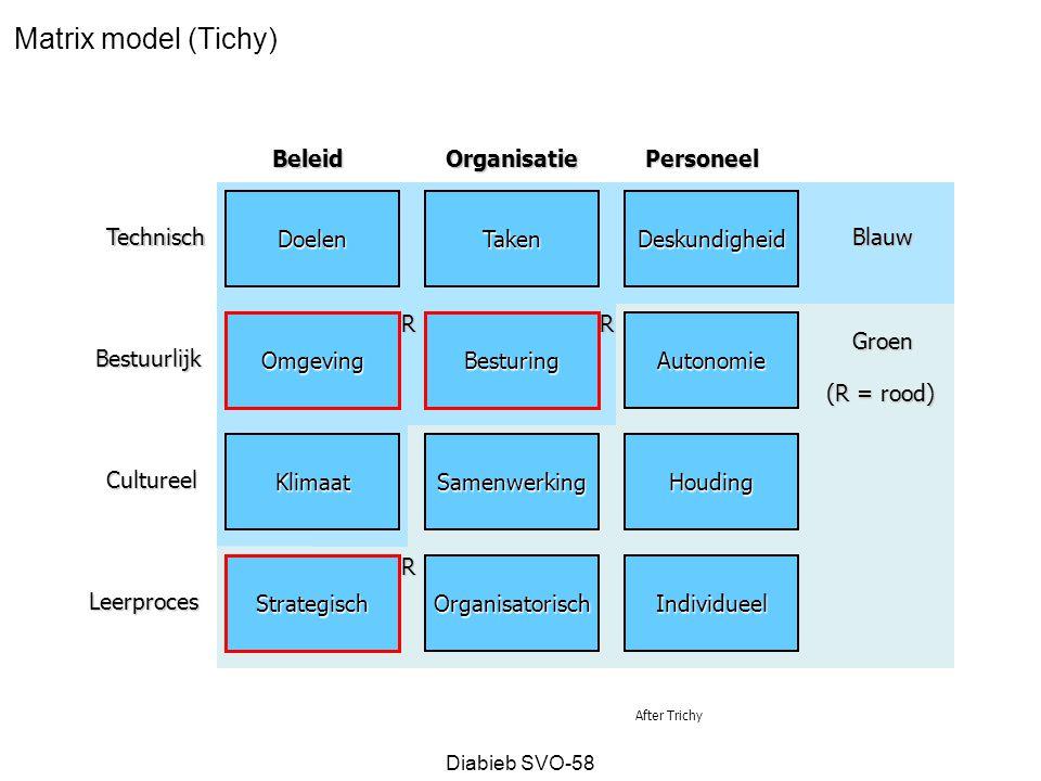Matrix model (Tichy) Beleid Organisatie Personeel Doelen Taken