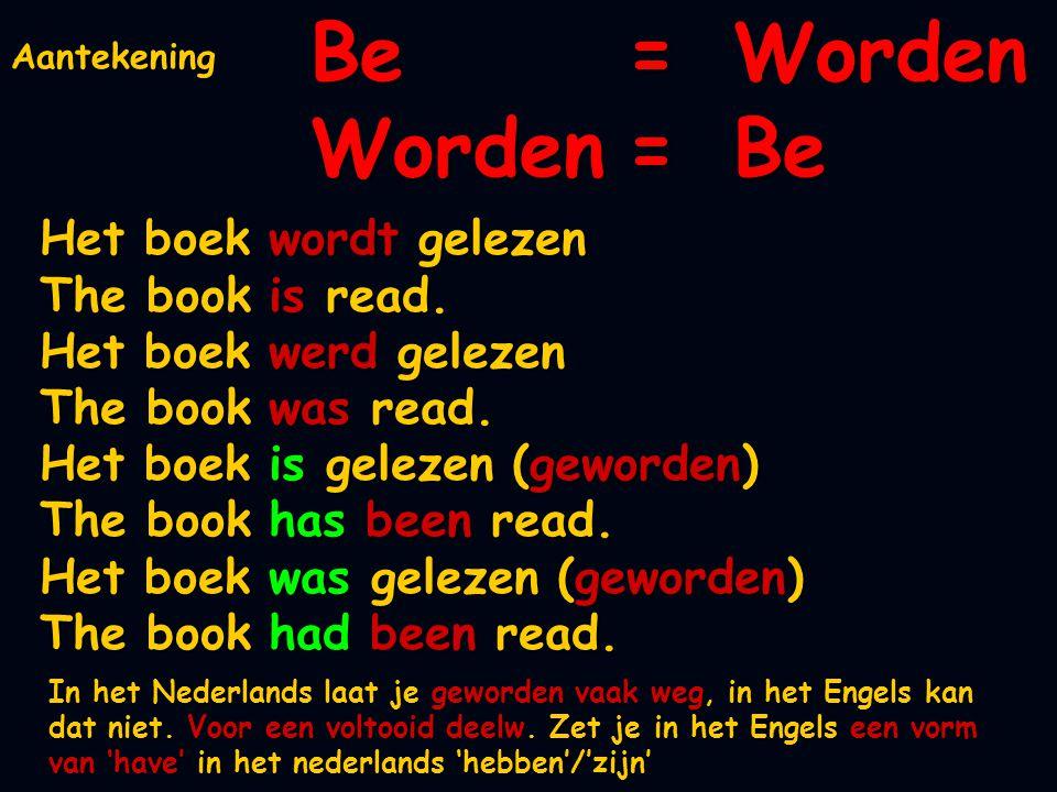 Be = Worden Worden = Be Het boek wordt gelezen The book is read.