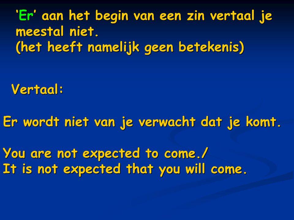 'Er' aan het begin van een zin vertaal je meestal niet.