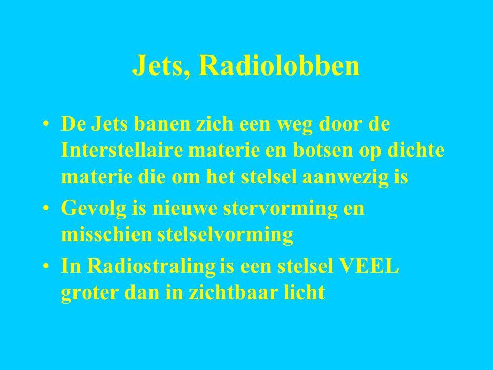 Jets, Radiolobben De Jets banen zich een weg door de Interstellaire materie en botsen op dichte materie die om het stelsel aanwezig is.