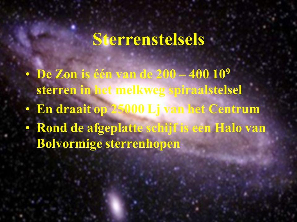 Sterrenstelsels De Zon is één van de 200 – 400 109 sterren in het melkweg spiraalstelsel. En draait op 25000 Lj van het Centrum.