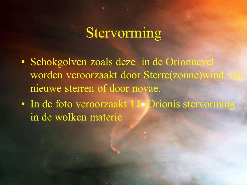 Stervorming Schokgolven zoals deze in de Orionnevel worden veroorzaakt door Sterre(zonne)wind van nieuwe sterren of door novae.