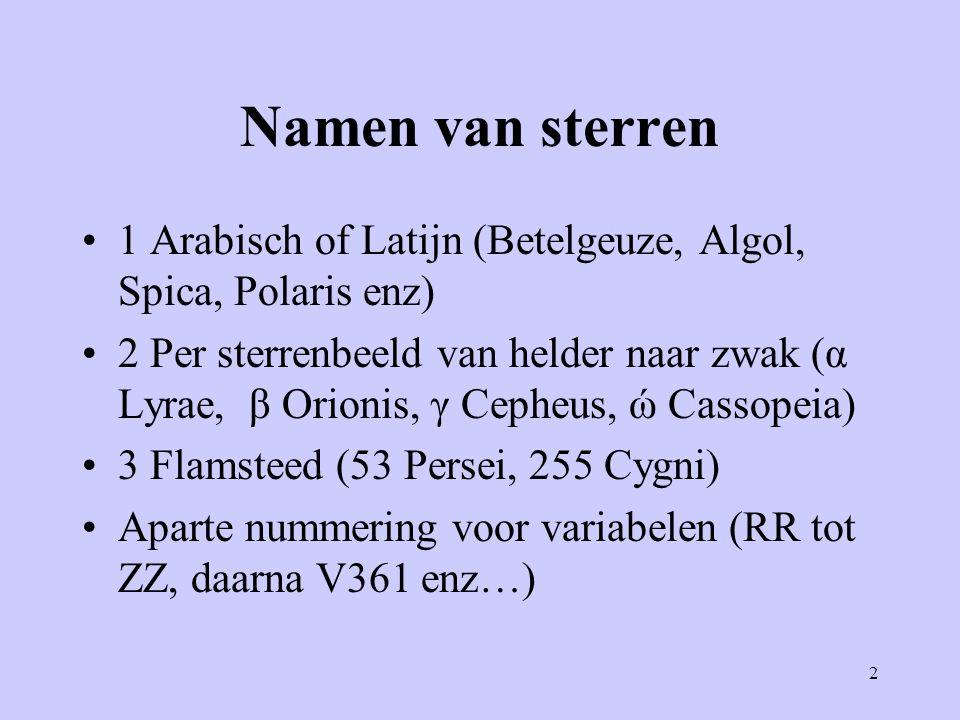 Namen van sterren 1 Arabisch of Latijn (Betelgeuze, Algol, Spica, Polaris enz)