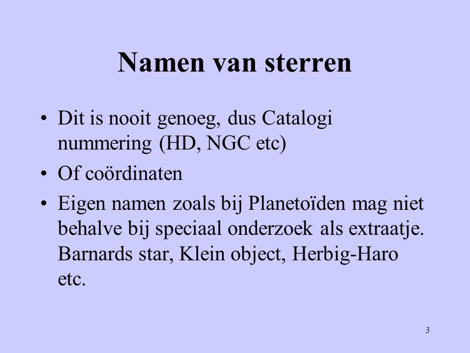 Namen van sterren Dit is nooit genoeg, dus Catalogi nummering (HD, NGC etc) Of coördinaten.