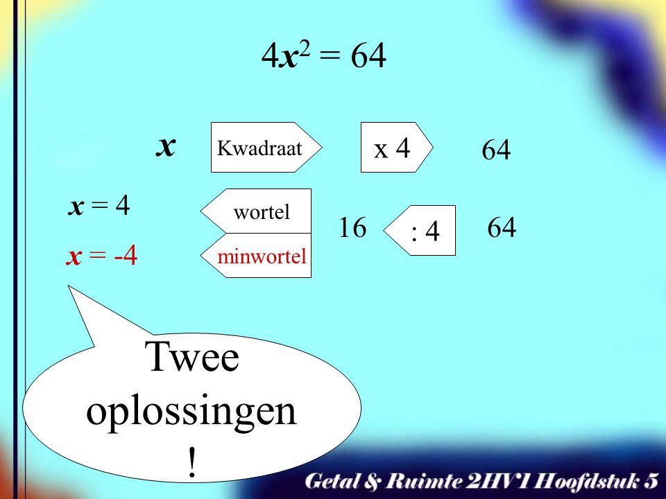 Twee oplossingen! 4x2 = 64 x x 4 64 x = 4 16 : 4 64 Kwadraat wortel