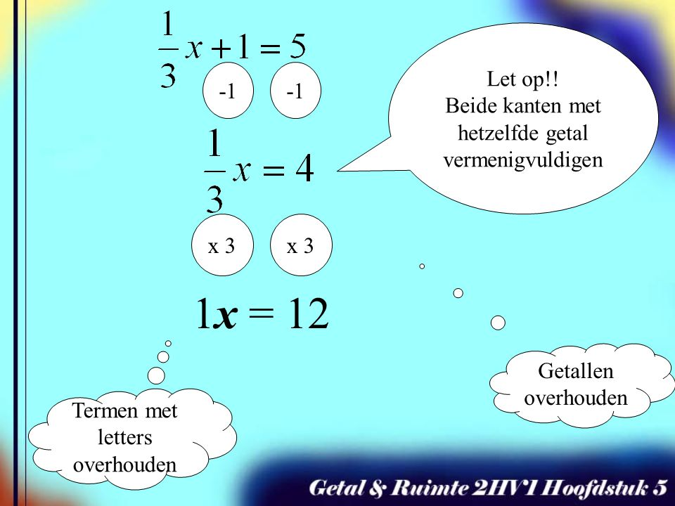 1x = 12 Let op!! Beide kanten met hetzelfde getal vermenigvuldigen -1