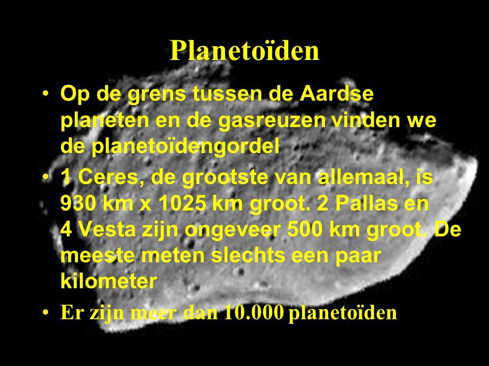 Planetoïden Op de grens tussen de Aardse planeten en de gasreuzen vinden we de planetoïdengordel.