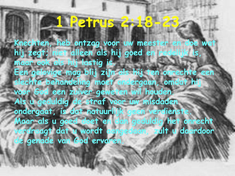 1 Petrus 2:18-23 Knechten, heb ontzag voor uw meester en doe wat