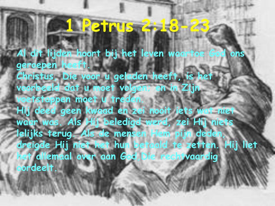 1 Petrus 2:18-23 Al dit lijden hoort bij het leven waartoe God ons