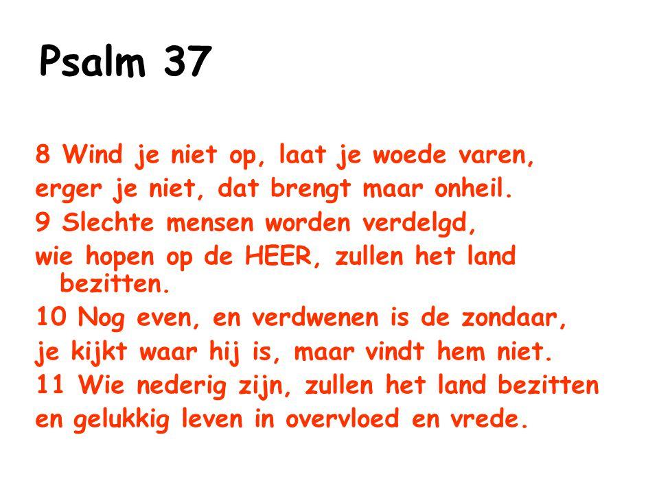 Psalm 37 8 Wind je niet op, laat je woede varen,