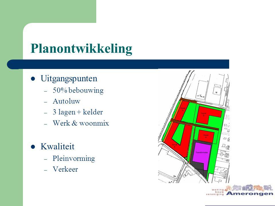 Planontwikkeling Uitgangspunten Kwaliteit 50% bebouwing Autoluw