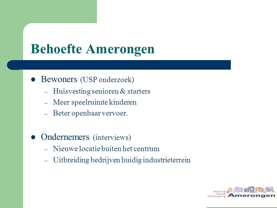 Behoefte Amerongen Bewoners (USP onderzoek) Ondernemers (interviews)