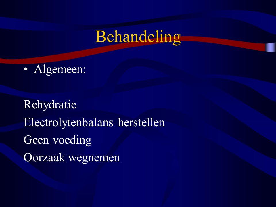 Behandeling Algemeen: Rehydratie Electrolytenbalans herstellen