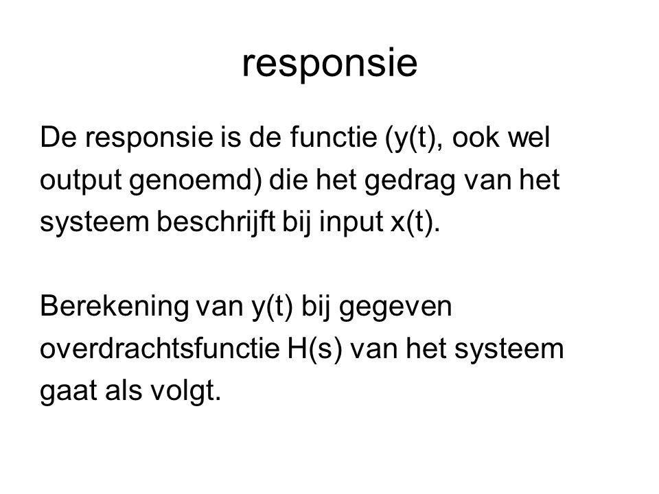 responsie De responsie is de functie (y(t), ook wel