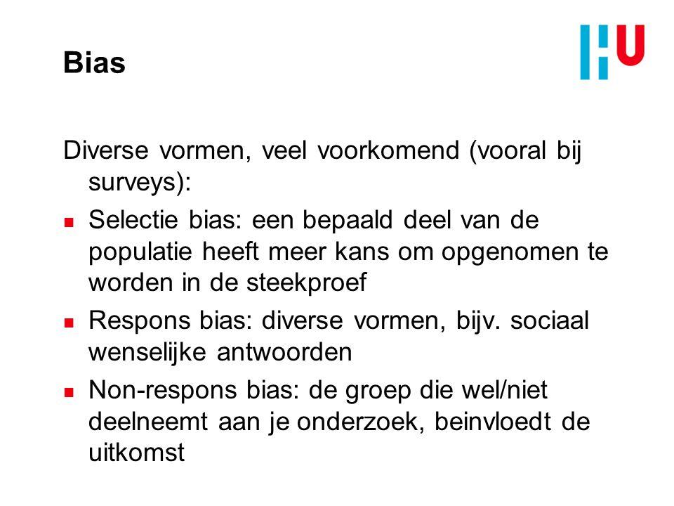 Bias Diverse vormen, veel voorkomend (vooral bij surveys):