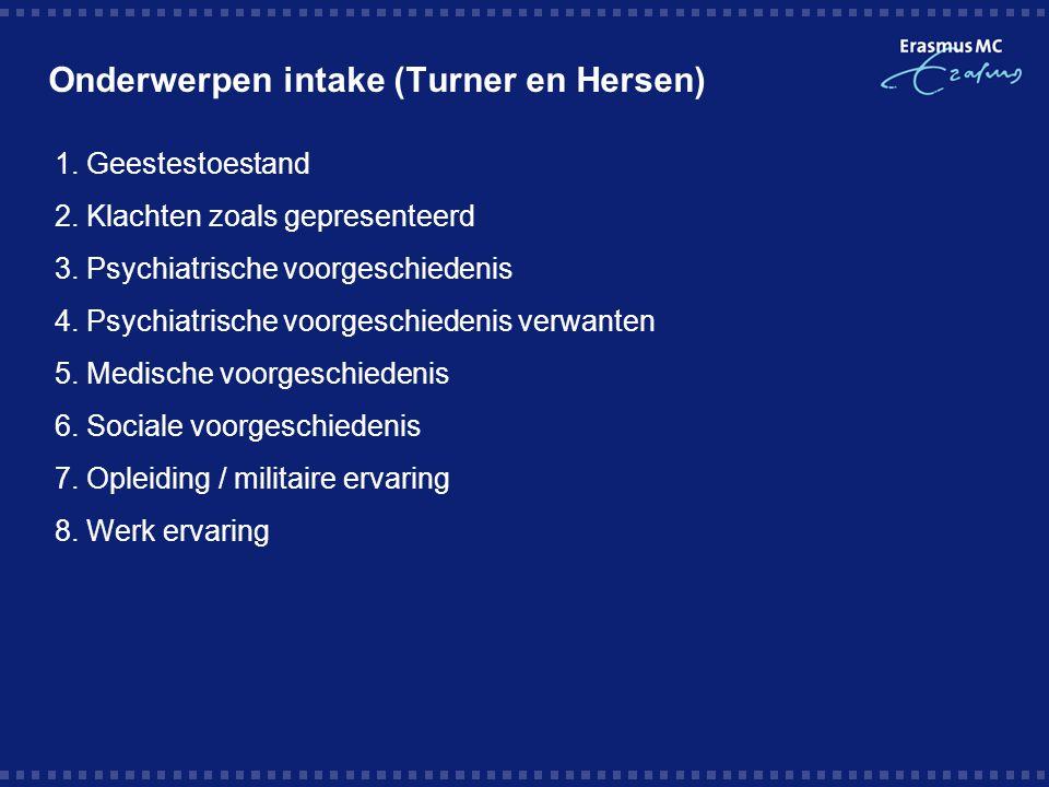 Onderwerpen intake (Turner en Hersen)
