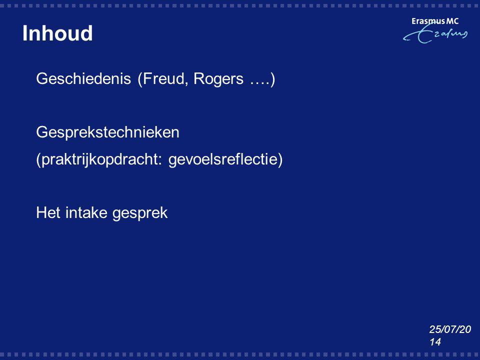 Inhoud Geschiedenis (Freud, Rogers ….) Gesprekstechnieken