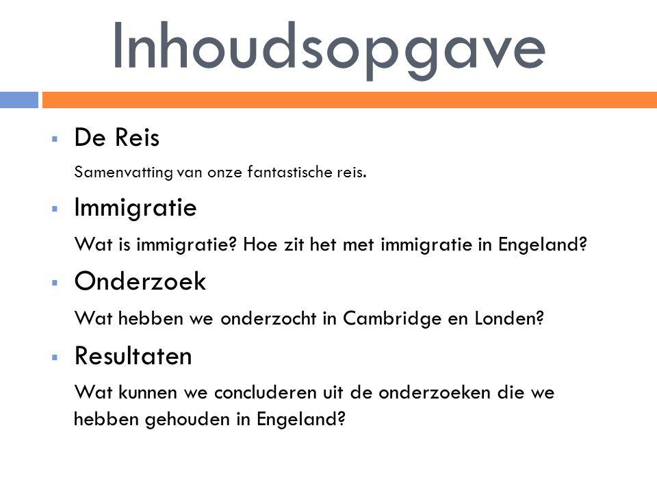 Inhoudsopgave De Reis Immigratie Onderzoek Resultaten