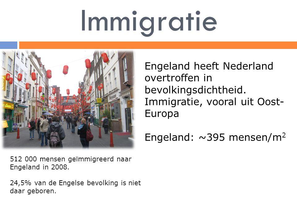 Immigratie Engeland heeft Nederland overtroffen in bevolkingsdichtheid. Immigratie, vooral uit Oost-Europa.