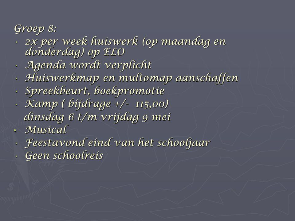 Groep 8: 2x per week huiswerk (op maandag en donderdag) op ELO. Agenda wordt verplicht. Huiswerkmap en multomap aanschaffen.