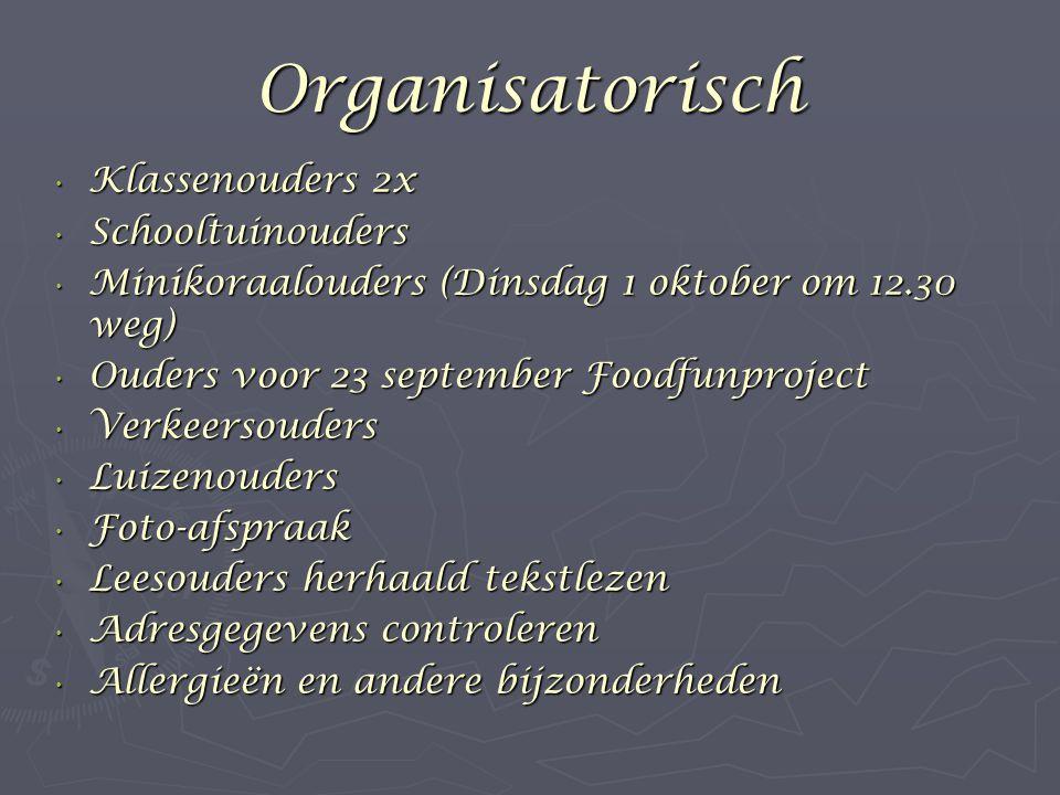 Organisatorisch Klassenouders 2x Schooltuinouders
