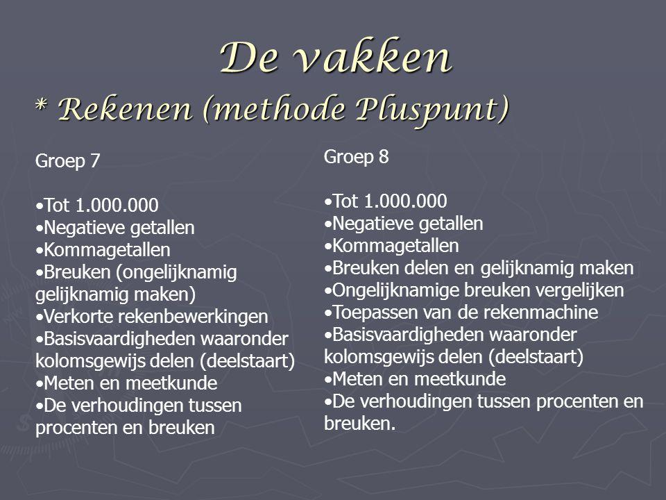 De vakken * Rekenen (methode Pluspunt) Groep 8 Groep 7 Tot 1.000.000