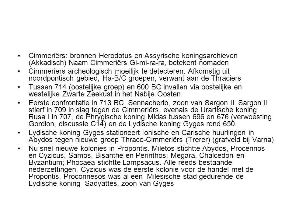 Cimmeriërs: bronnen Herodotus en Assyrische koningsarchieven (Akkadisch) Naam Cimmeriërs Gi-mi-ra-ra, betekent nomaden
