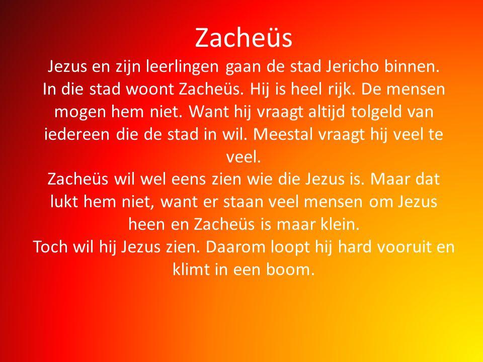 Zacheüs Jezus en zijn leerlingen gaan de stad Jericho binnen